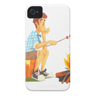 Guy Frying Meat On Camp Bonfire. Cool Colorful iPhone 4 Cover