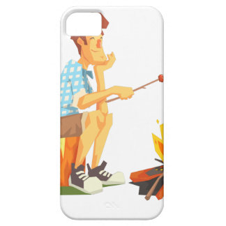 Guy Frying Meat On Camp Bonfire. Cool Colorful iPhone 5 Case