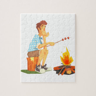 Guy Frying Meat On Camp Bonfire. Cool Colorful Jigsaw Puzzle