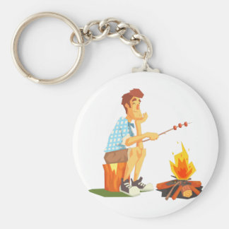 Guy Frying Meat On Camp Bonfire. Cool Colorful Keychain