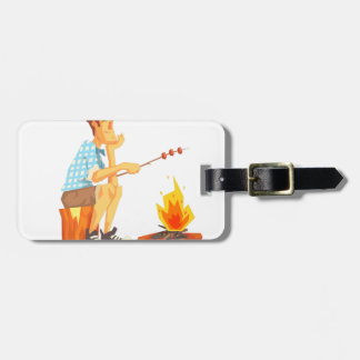 Guy Frying Meat On Camp Bonfire. Cool Colorful Luggage Tag