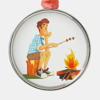 Guy Frying Meat On Camp Bonfire. Cool Colorful Metal Ornament