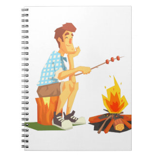 Guy Frying Meat On Camp Bonfire. Cool Colorful Notebooks