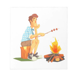 Guy Frying Meat On Camp Bonfire. Cool Colorful Notepad