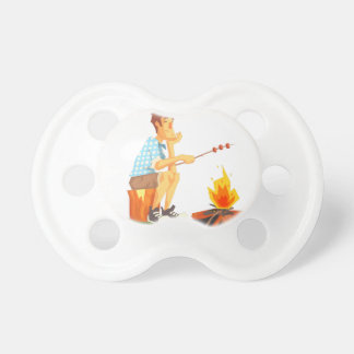 Guy Frying Meat On Camp Bonfire. Cool Colorful Pacifier