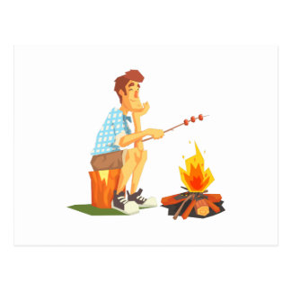 Guy Frying Meat On Camp Bonfire. Cool Colorful Postcard