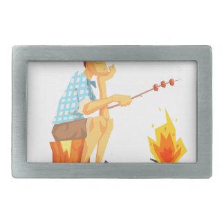 Guy Frying Meat On Camp Bonfire. Cool Colorful Rectangular Belt Buckle