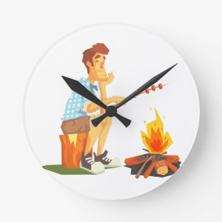 Guy Frying Meat On Camp Bonfire. Cool Colorful Round Clock