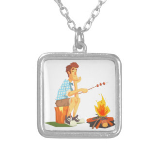 Guy Frying Meat On Camp Bonfire. Cool Colorful Silver Plated Necklace
