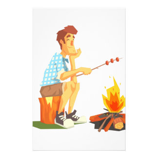 Guy Frying Meat On Camp Bonfire. Cool Colorful Stationery
