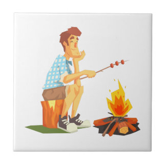 Guy Frying Meat On Camp Bonfire. Cool Colorful Tile