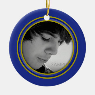 Guy Grad Blue and Gold Personalized Photo Ornament