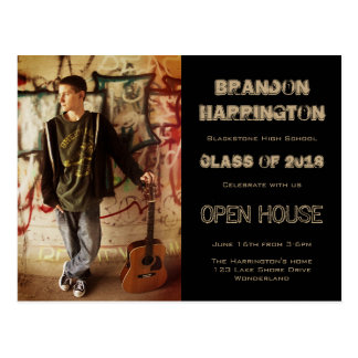 Guy Grad Grunge Photo Open House Invitation Postcard