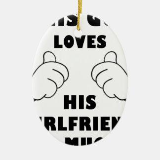 Guy loves Girlfriend Ceramic Oval Ornament