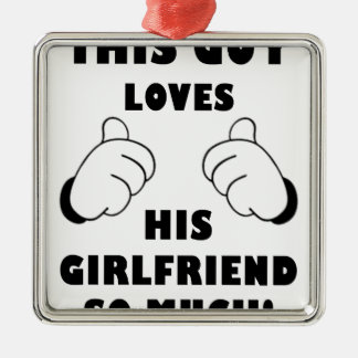 Guy loves Girlfriend Silver-Colored Square Ornament