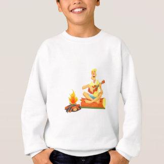 Guy Playing Guitar Sitting On A Log Next Sweatshirt