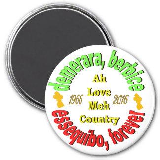 """Guyana 3 Counties 3"""" Round Magnet"""