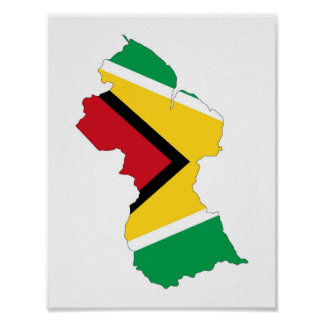 guyana country flag map shape symbol poster