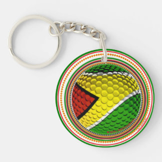Guyana Flag Golf Ball Imprint RokCloneDesigns Single-Sided Round Acrylic Keychain