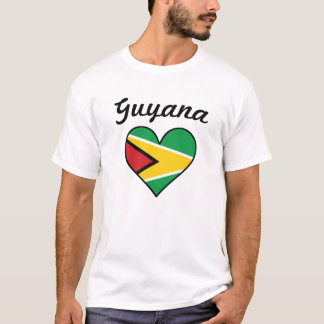 Guyana Flag Heart T-Shirt