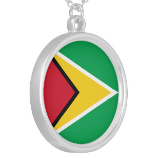 Guyana Flag Silver Plated Necklace