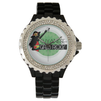 Guyana Girl Black Rhinestone eWatch Watch