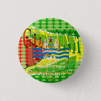 Guyana, Happy 50th Anniversary  Independence 'Lo 1 Inch Round Button