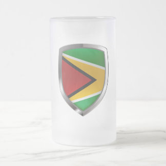 Guyana Mettalic Emblem Frosted Glass Beer Mug