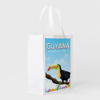 Guyana South american paradise travel poster Reusable Grocery Bag