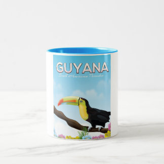 Guyana South american paradise travel poster Two-Tone Coffee Mug