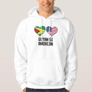 Guyanese American Heart Flags Hoodie