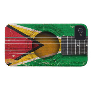 Guyanese Flag on Old Acoustic Guitar iPhone 4 Case