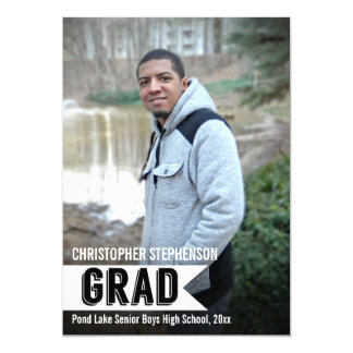 Guys Bold Banner Photo Graduation Announcement
