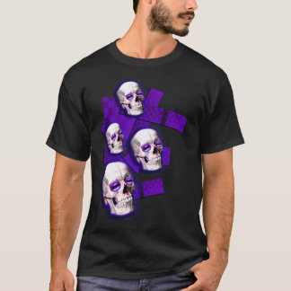 guys or girls Purple Skulls Emo Electro club D  T-Shirt