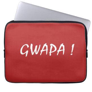 gwapa text Cebuano Filipino Tagalog Laptop Sleeve