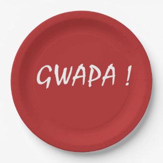 gwapa text Cebuano Filipino Tagalog Paper Plate