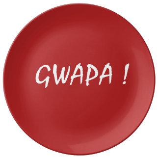 gwapa text Cebuano Filipino Tagalog Plate