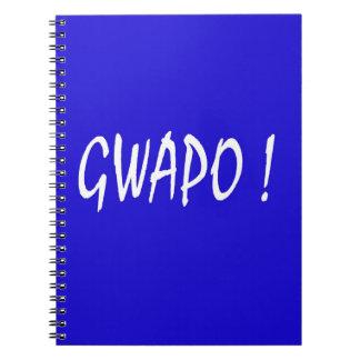 gwapo text handsome Tagalog filipino cebuano Spiral Notebook