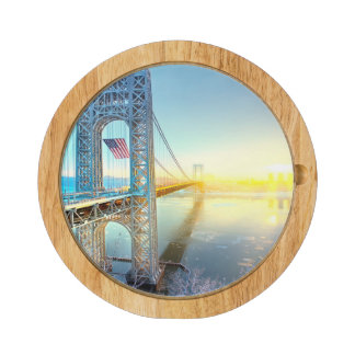 GWB connecting Fort Lee NJ and Manhattan NYPlus Rectangular Cheeseboard