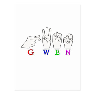 GWEN NAME FINGERSPELLED ASL HAND SIGN POSTCARD