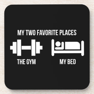 Gym and Bed - Funny Cartoon Pictogram - Novelty Coaster