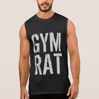 GYM AND FITNESS DISTRESSED GYM RAT WORKOUT SLEEVELESS T-SHIRTS