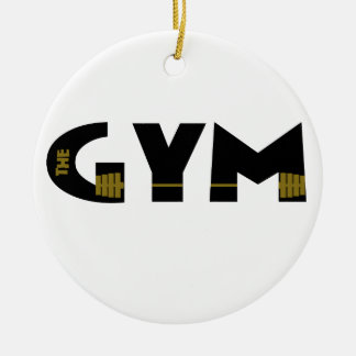 Gym and fitness round ceramic ornament