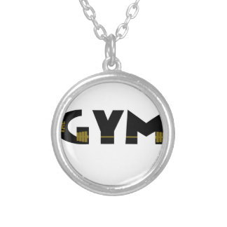 Gym and fitness silver plated necklace
