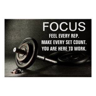 Gym Barbell Workout Motivation Quote Poster