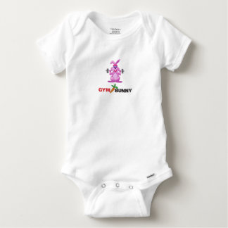gym bunny baby onesie