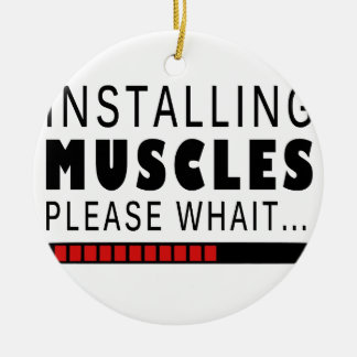 Gym fitness and muscles round ceramic ornament