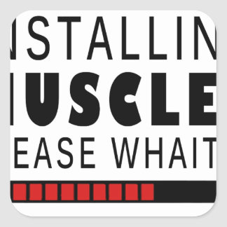 Gym fitness and muscles square sticker