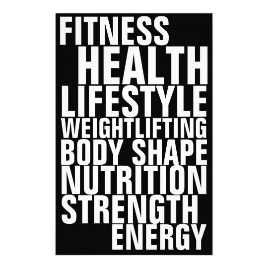 Gym fitness club bold text inspiration black white flyer