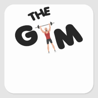 Gym funny texts square sticker